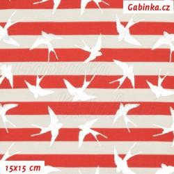 E -Úplet s EL - Stříbrné vlaštovky na červených a bílých proužcích, šíře 145 cm, 10 cm