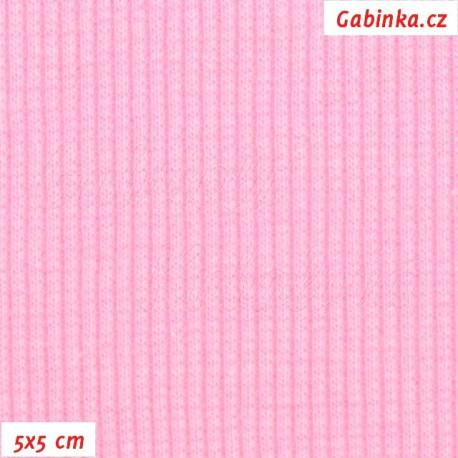 Náplet žebrovaný, pastelově růžový, 5x5cm