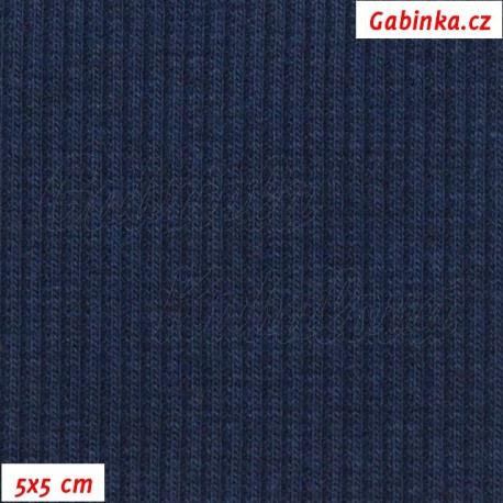 Náplet žebrovaný, tmavě modrý, 5x5cm