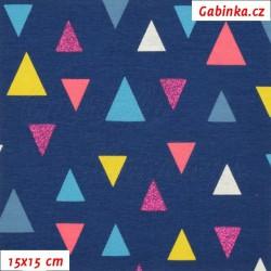 Úplet s EL, Trojúhelníky 2-3cm třpytivé a barevné na tm. modré, 15x15cm