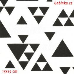 Úplet s EL, Trojúhelníky 5cm skládané černé na bílé, 15x15cm