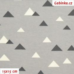 Úplet s EL, Trojúhelníčky 1-2cm bílé a tm. šedé na sv. šedé, 15x15cm