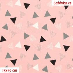 Úplet s EL, Trojúhelníčky 1-2cm puntíkaté bílé šedé a černé na sv. růžové, 15x15cm