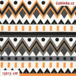 Úplet s EL, Chevron oranžový šedý a černý s puntíky na bílé, 15x15cm