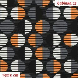 Úplet s EL - Kolekce N1, Proužkovaná kolečka oranžová bílá šedá černá na černé, šíře 150 cm, 10 cm