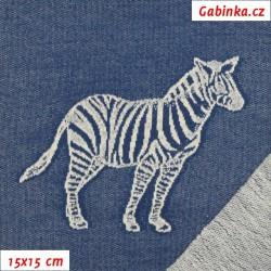 Teplákovina žakár, Zebry na jeans, 15x15cm