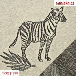 Teplákovina žakár, Zebry černé na ecru, 15x15cm