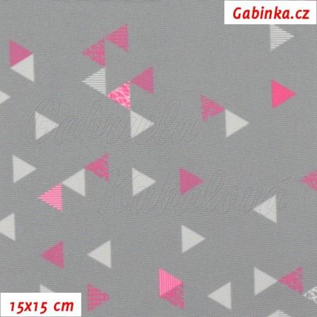 Kočárkovina Primax, Trojúhelníčky 1cm růžové a bílé na šedé, 15x15cm