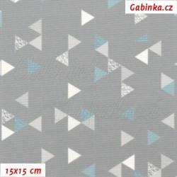 Kočárkovina Primax, Trojúhelníčky 1cm tyrkysové a bílé na šedé, 15x15cm