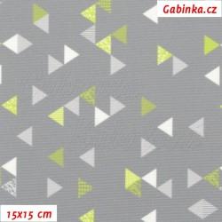 Kočárkovina Primax, Trojúhelníčky 1cm zelené a bílé na šedé, 15x15cm