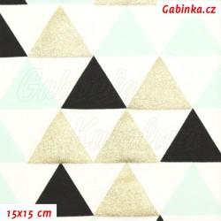 Úplet tričkovina, Trojúhelníky 45mm zlaté černé a MINT na bílé, 15x15cm