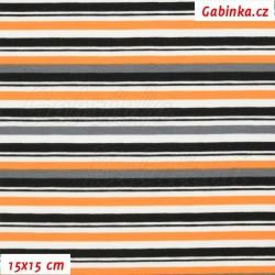 E - Úplet s EL - Kolekce N1, Proužky oranžové šedé černé na bílé, šíře 150 cm, 10 cm