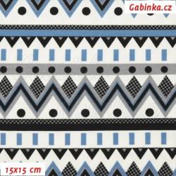 E-Úplet s EL - Kolekce N1, Chevron modrý šedý a černý s puntíky na bílé, šíře 150 cm, 10 cm