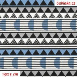 E - Úplet s EL - Kolekce N1, Půlkolečka trojúhelníky a proužky modré šedé černé na bílé, šíře 150 cm, 10 cm
