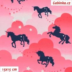 Úplet s EL, Jednorožci na růžových obláčcích, 15x15cm