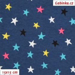 Úplet s EL - Hvězdičky 15mm barevné na modré, šíře 145 cm, 10 cm