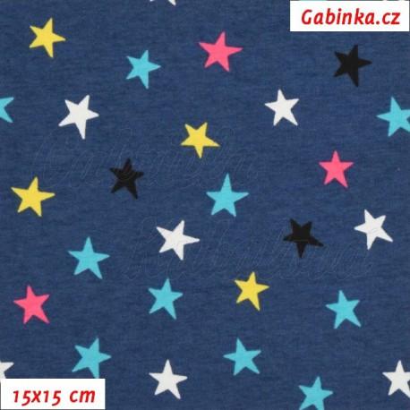 Úplet s EL, Hvězdičky 15mm barevné na modré, 15x15cm