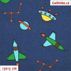 Úplet s EL - Vesmírné lodě na modré, šíře 145 cm, 10 cm