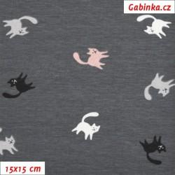 Úplet s EL, Malé kočičky na tm. šedé, 15x15cm