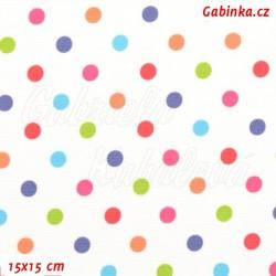 Kočárkovina LESK, Barevné puntíky na bílé, šíře 160 cm, 10 cm