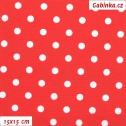 Kočárkovina LESK, Bílé puntíky na červené, šíře 160 cm, 10 cm