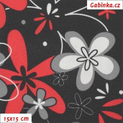 Kočárkovina LESK, Květy červené a bílé na na černé, 15x15cm