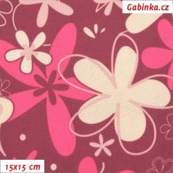 Kočárkovina LESK, Květy růžové a smetanové na růžovofialové, 15x15cm