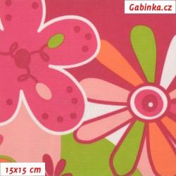 Kočárkovina LESK, Květy růžovozelené na růžové a bílé, 15x15cm
