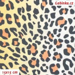 Kočárkovina LESK, Oranžový leopard, šíře 160 cm, 10 cm
