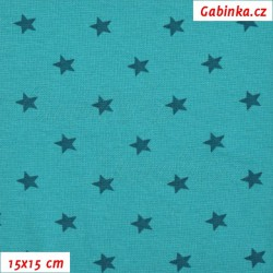 Náplet hladký, Hvězdičky na tm. zelené OCEAN, 15x15cm