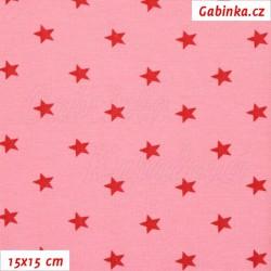 Náplet hladký, Hvězdičky na sv. růžové, 15x15cm