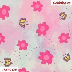 Úplet s EL Digitální tisk - Růžové kytičky a žlutí motýlci, šíře 160 cm, 10 cm