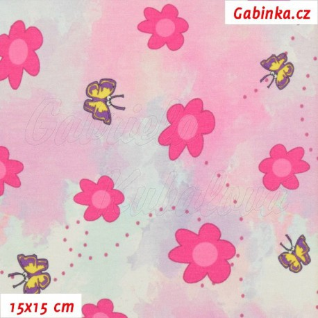 Úplet s EL Digitální tisk, Růžové kytičky a žlutí motýlci, 15x15cm