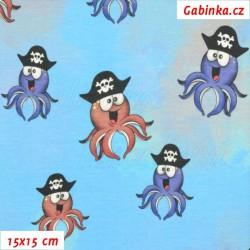 E - Úplet s EL Digitální tisk - Chobotnice s pirátskou čepkou na hnědomodré, 2. jakost, šíře 160 cm, 10 cm