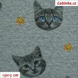 Úplet s EL Digitální tisk - Kočičí hlavy se zlatými hvězdami na tm. šedém melíru, ATEST 2, šíře 150 cm, 10 cm