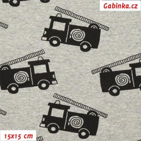 Teplákovina, Hasičská auta na šedém melíru, 15x15cm