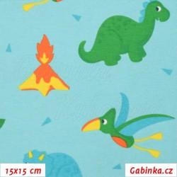 Úplet s EL, Dinosauři se sluníčky na tyrkysové, 15x15cm