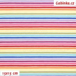 Úplet tričkovina - Tenké barevné proužky duha, ATEST 1, šíře 150 cm, 10 cm