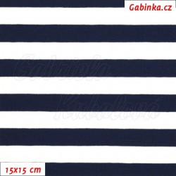Úplet s EL - Proužky 15 mm bílé a tm. modré, šíře 150 cm, 10 cm