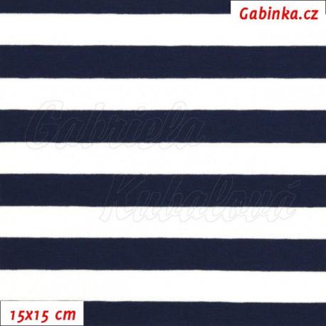 Úplet s EL, Proužky 15 mm bílé a tm. modré, 15x15cm