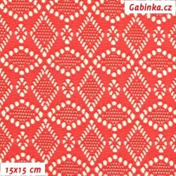 Krajka elastická, červená, 15x15cm