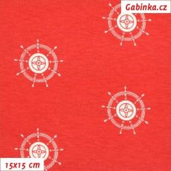 Viskóza s EL - Bílá kormidla na červené, šíře 150 cm, 10 cm