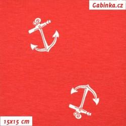 Viskózový úplet - Bílé kotvy na červené, šíře 150 cm, 10 cm
