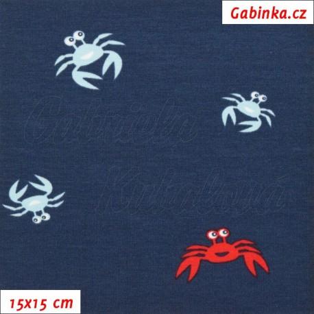 Úplet s EL, Krabi sv. modří a červení na tm. modré, 15x15cm