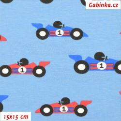 Úplet s EL - RACE CARS na modré, šíře 150 cm, 10 cm