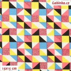 E - Úplet s EL - Trojúhelníčky a čtverečky třpytivé a barevné na bílé, šíře 145 cm, 10 cm