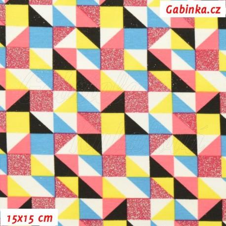 Úplet s EL, Trojúhelníčky a čtverečky třpytivé a barevné na bílé, 15x15cm