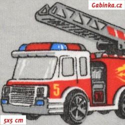 Úplet, Hasičská auta červená na sv. šedé, 5x5cm