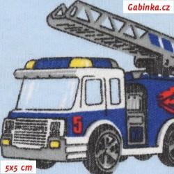 Úplet, Hasičská auta tm. modrá na sv. modré, 5x5cm