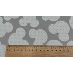 Dětské látky metráž, bavlna - Hlavy myšek s puntíky na světle šedé, 10cm